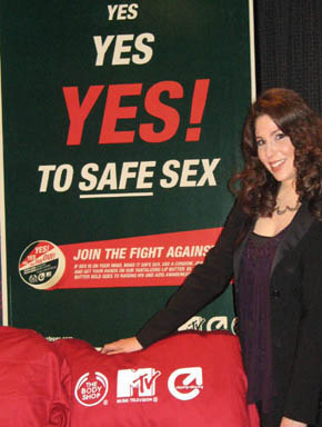 With The Body Shop poster and the MTV/Staying Alive/Body Shop branded hot red satin bed.